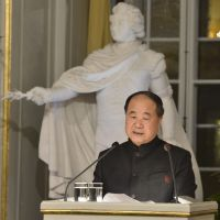 Controversial figure: Mo Yan, winner of the 2012 Nobel Prize in literature, speaks during the traditional Nobel lecture at the Royal Swedish Academy in Stockholm, Sweden, on Friday. | AP