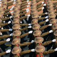 Stepping up: Indian soldiers march in New Delhi on Wednesday during the final full dress rehearsal for the military parade that will be held as part of India's 64th Republic Day on Saturday, to celebrate the enactment of its constitution in 1949. | AFP-JIJI
