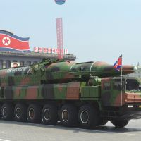 Misguided: A North Korean military vehicle carries what is believed to be a Taepodong-class intermediate-range ballistic missile during a military parade in Pyongyang. | AFP-JIJI
