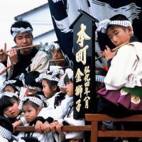 In tune to tradition: Young boys play yokobue flutes for the Kunchi festival in Karatsu in Saga Prefecture. | EIJI KAWASAKI