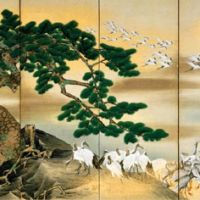 A dinified flock: Detail of Mori Tetsuzan's 'A Hundred Cranes' | HARA MUSEUM OF ART