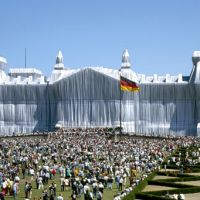 Revealing a coverup: For 'Wrapped Reichstag, Berlin' (1971-1995), Christo and Jeanne-Claude covered the entire German parliament building with white fabric. | IMAGES COURTESY OF DESIGN SITE 21_21