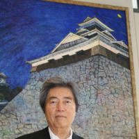 Wild art: Morihiro Hosokawa (top) with his 'Kumamoto Castle,' and his 'Eleven-faced Kannon, Kogenji Temple' (above) | C.B. LIDDELL / © NACAASA & PARTNERS INC. — COURTESY OF HERMES JAPON