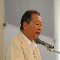 Island philanthopist: Soichiro Fukutake speaks at the opening of the Setouchi International Symposium 2010, on Aug. 6 at Benesse House, Naoshima.