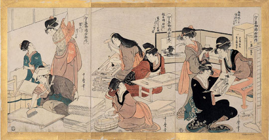 Edo beauties: 'The Cultivation of Polychrome Prints, a Famous Edo Period Product' (1803, left) by Kitagawa Utamaro. | MKG HAMBURG