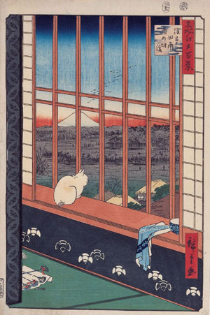 'Rice Paddies in Asakusa and the Torinomachi Festival' (1857) by Utagawa Hiroshige. | MKG HAMBURG