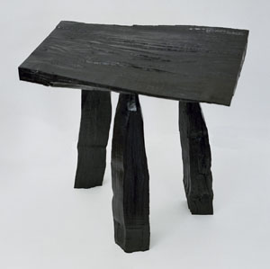 Pure urushi: Max Lamb's 'Wood Stool,' lacquered by Hidetaka Wakashima.