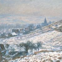 Village leader: Masterpieces by Claude Monet, such as 'Winter in Giverny' (1885, above), are displayed alongside the work of foreign contemporaries who followed the Impressionist to northern France. Left: John Leslie Beck's 'Study of an Autumn Day, No. 7' (1891). | PHOTOGRAPHY FOR