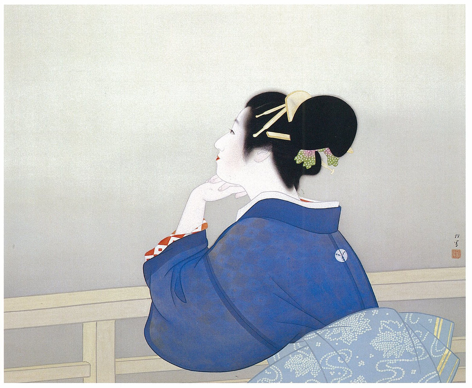 'Woman Waiting for the Moon to Rise' by Shoen Uemura (1944) | ADACHI MUSEUM OF ART