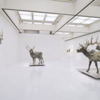 Big ideas: A room in Kohei Nawa's current 'Synthesis' exhibition, with the work 'PixCell-Elk #2' (2009). on the right. | WORK CREATED WITH THE SUPPORT OF THE FONDATION D'ENTREPRISE HERMES. PHOTO: SEIJI TOYONAGA (SANDWICH), &#169; 2011 KOHEI NAWA.