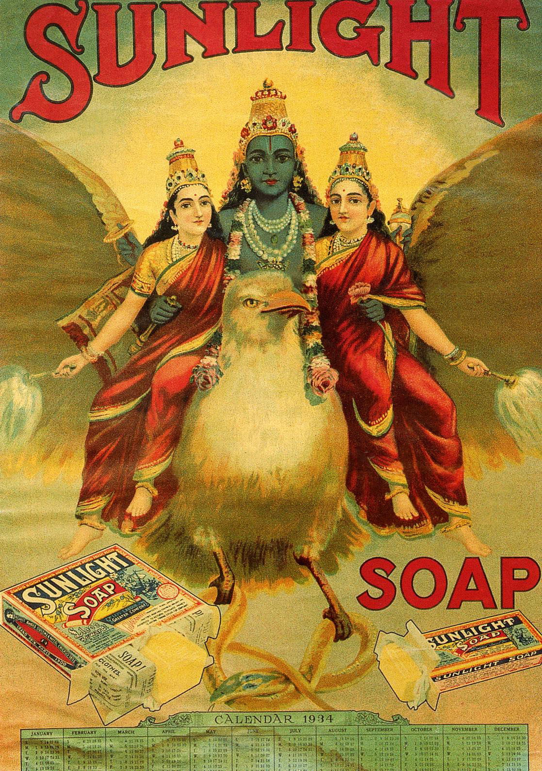 'Sunlight Soap Calendar of 1934,' reprint of a picture by Ravi Varma (original dates from around 1880s). Printer and designer unknown. | JYOTINDRA AND JUTTA JAIN, DELHI