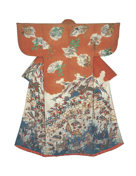 'Kosode with Scenes from The Tale of Genji,' from the Marubeni Corporation (Edo Period, 18th century)