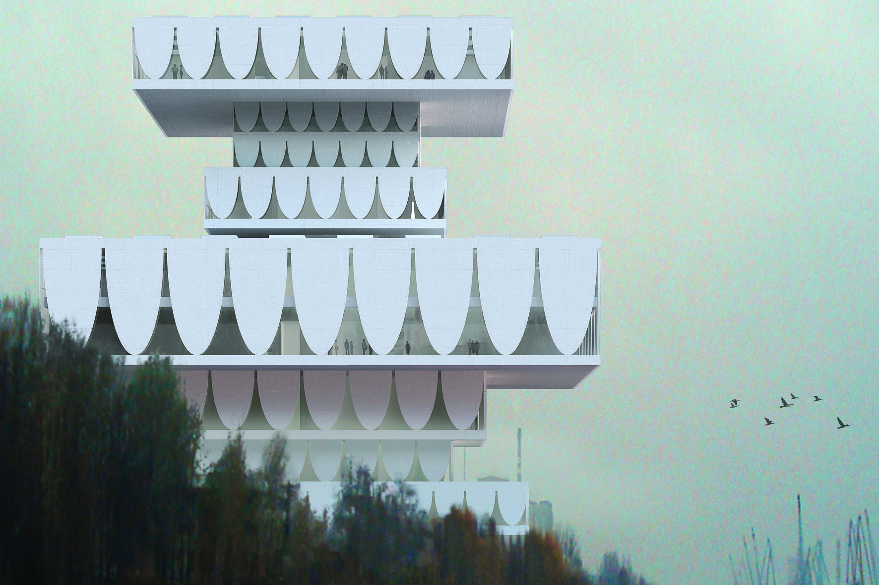 A rendering of Valerio Olgiati's 'Perm Museum XXI, Perm, Russia' (2008) | &#169; TOTAL REAL AG