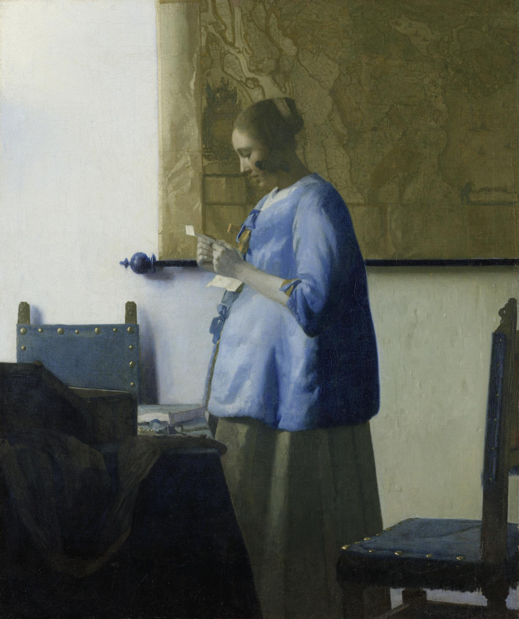 'Woman in Blue Reading a Letter' (c.1663-1664) by Johannes Vermeer | (C) RIJKSMUSEUM, AMSTERDAM. ON LOAN FROM THE CITY OF AMSTERDAM (A. VAN DER HOOP BEQUEST)