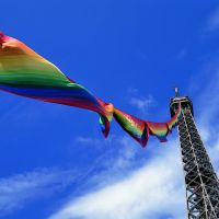 Charmingly bold: Ay-O's 300-meter 'Rainbow Eiffel Tower Project,' Paris (1987) | KENJI MIZUYACHI