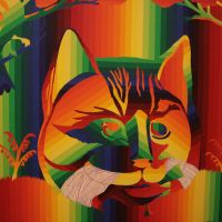 A 'rainbow painting'featuring a native American folk-art cat from his 'Nashville Skyline' series (1971-72) | C.B. LIDDELL