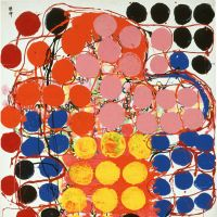 Artistic circles of Atsuko Tanaka:  'Work' (1957) | COURTESY AND THE COLLECTION OF ASHIYA CITY MUSEUM OF ART & HISTORY, © RYOJI ITO