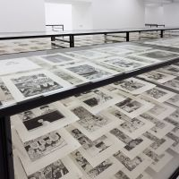 The right frame of mind: Rather than hang them on the wall, Katsuhiro Otomo painstakingly arranged all 2,300 pages of the 'Akira' genga (original drawings) on shelves in glass tanks.