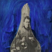 Obscure view: '(husband and) wife,' depicts Marie Curie and her husband Pierre, obscured by ultramarine paint to leave only Marie clearly visible within the shape of a flask. | © MAKITO OKADA, COURTESY OF IMURA ART GALLERY