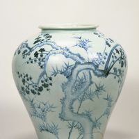 Jar with a blue-and-white plum tree and bamboo design (first half of the 16th century) | GIFT OF SUMITOMO GROUP