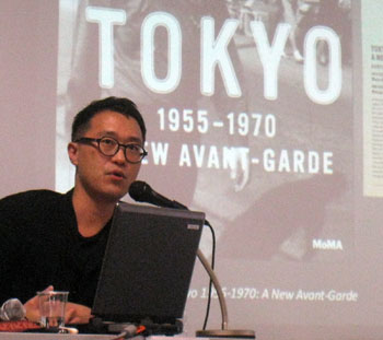 Eye on Tokyo: MoMA curator Doryun Chong speaks at a press conference for 'Tokyo 1955-1970: A New Avant-Garde' at the Tokyo offices of The Japan Foundation last week. | EDAN CORKILL