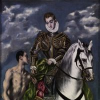 Breaking aesthetic conventions: Exaggerated human proportions, such as in 'Saint Martin and the Beggar' (1599), became part of El Greco's unusual signature style. | CHI MEI MUSEUM, TAINAN, TAIWAN