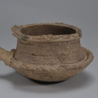 A lipped clay pot from the late Jomon Period.