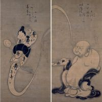 Inspiration and enlightenment: 'Hotei Puffing out Smoke' (above) and 'One Hand' (below) | HISAMATSU SHINICHI MEMORIAL MUSEUM/ OFUKU HOKKE-JI TEMPLE (EHIME) ENTRUSTED TO OZU CITY MUSEUM