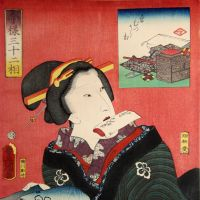 Utagawa Toyokuni III's 'Thirty-two Contemporary Appearances: Woman of Fussy'