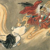 Heavenly dogs: Found throughout Japanese folklore, the tengu are a class of supernatural monster spirits. Buddhism has long held they are harbingers of war. Depicted here 'Tengu and a Buddhist monk,' by Kawanabe Kyosai.