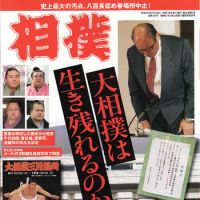 Big issue: Cover of the March issue of Sumo magazine, showing Hanaregoma, the JSA head, bowing in apology. The headline reads: 'Can Sumo survive?'