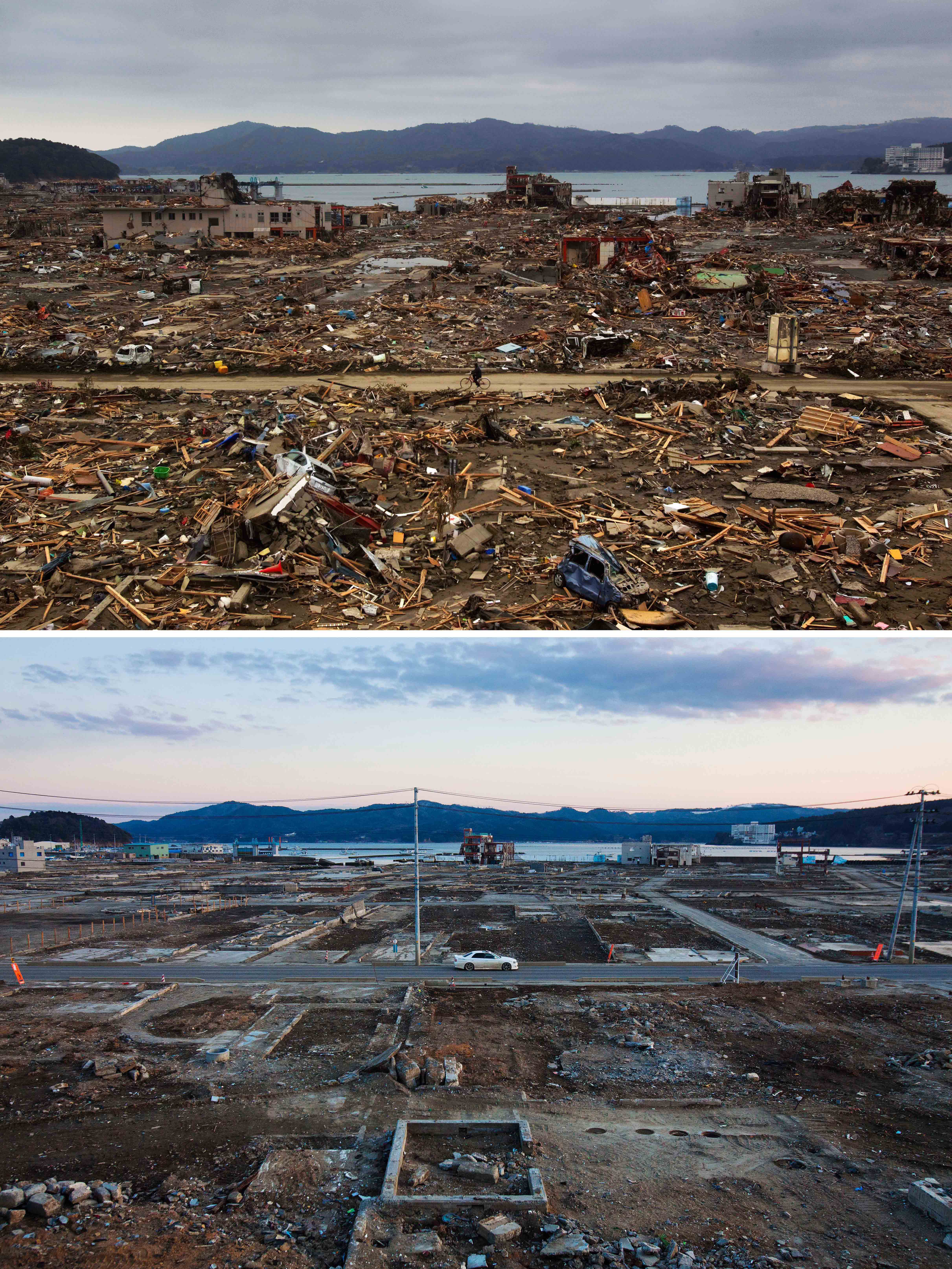 Wasteland: The tsunami-devastated city of Minamisanriku, Japan, on March 15, 2011 (top) and the same spot a year later (above). While the streets are now free of rubble, rebuilding has barely begun leaving many wondering where the &#165;19 trillion earmarked by the governemnt for reconstruction is being spent. | AP
