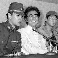 Deep affinity: Ryuichi Sakamoto, Nagisa Oshima (center) and Takeshi Kitano during a press conference for Oshima's 1983 film 'Merry Christmas, Mr. Lawrence.' | KYODO