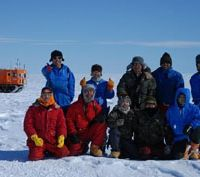 Ice times: Antarctic explorer and Hokkaido University scientist Shin Sugiyama (front row, first from right) pictured recently with other members of a joint Japanese-Swedish research project in Antarctica. | COURTESY OF SHIN SUGIYAMA