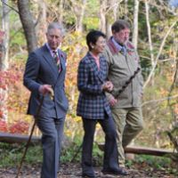 Outward bound: Princess Takamado accompanies the Prince of Wales and your columnist through the Trust's woods outside Kurohime in Nagano Prefecture. | KENJI MINAMI PHOTO