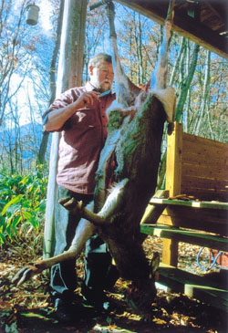 Doing as he says: C.W. Nicol butchers a deer shot by a hunter friend. | KENJI MINAMI