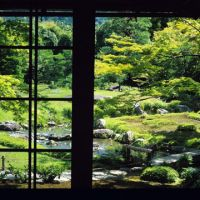 Uncontrived: Murin-an Garden seen framed to perfection from inside its wooden villa.