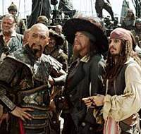 Chow Yun-Fat, Geoffrey Rush and Johnny Depp in 'Pirates of the Caribbean: At World's End' | (c)DISNEY ENTERPRISES, INC. ALL RIGHTS RESERVED