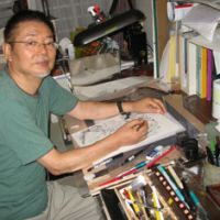 Incredible inkings: Ippei Kuri  sits in his home studio in Tokyo's Kugayama Ward