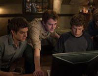 Yes, but are they really friends: A cast led by Jesse Eisenberg as Facebook founder and CEO Mark Zuckerberg portray a fictionalized version of the website's origins in 'The Social Network.'