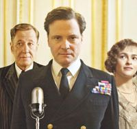 Way with words: Colin Firth (center) as Britain's stammering King George VI. | &#169; 2010 SEE-SAW FILMS. ALL RIGHTS RESERVED.