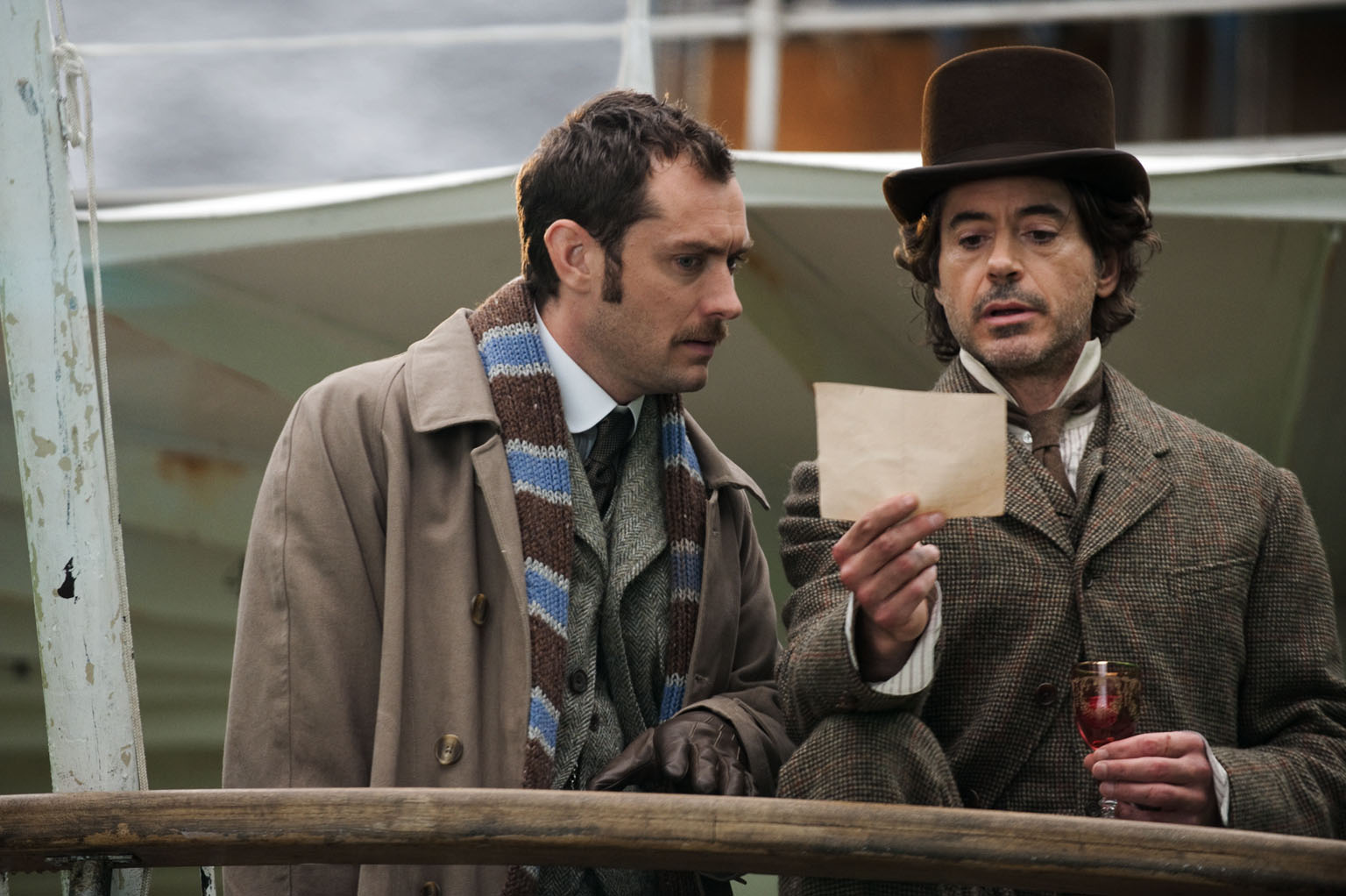 Baker Street bromance: Robert Downey Jr. (right) and Jude Law in 'Sherlock Holmes: A Game of Shadows.' | © 2011 VILLAGE ROADSHOW FILMS (BVI) LIMITED