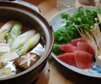 Simmering over a nabe hot pot