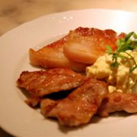 Iberico a la plancha with chopped apple in a saffron-rich mayonnaise