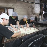 Helping hands: Volunteers work the rice at Nizawa Shuzo. | TIMOTHY SULLIVAN PHOTO
