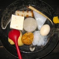 A selection of oden (various foods stewed in a broth) at Tokumaru. | KRIS KOSAKA