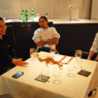 The staff at 81 — sommelier Julieta Pinon, owner Takeshi Nagashima and chef Francisco Araya — discuss where to go for their next meal.