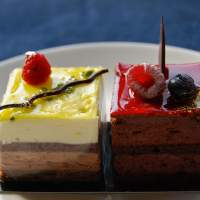 Different desserts: C*Lab Project's yuzu and choco-raspberry mousse cakes. | ROBBIE SWINNERTON