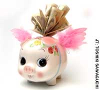 This little piggybank was counting his pension refund all the way home.