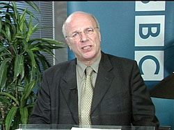 Ex-director general of the BBC, Greg Dyke, publicly apologizes in January 2004 for errors committed in BBC coverage of the leadup to the Iraq War. | AP PHOTO